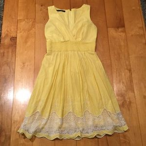 Pale Yellow Lace V-Neck Dress
